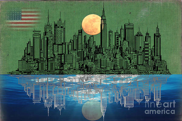 Bright Colours Mixed Media - Nyc Skyline by Celestial Images