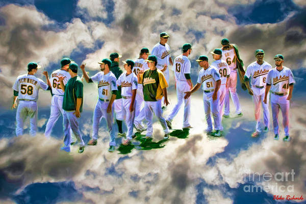 Photograph - Oakland A's High Five by Blake Richards
