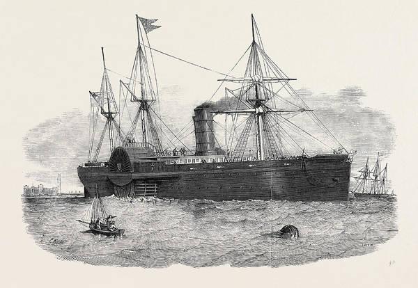 Atlantic Ocean Drawing - Ocean Steam Navigation The United States Mail Steamship by American School