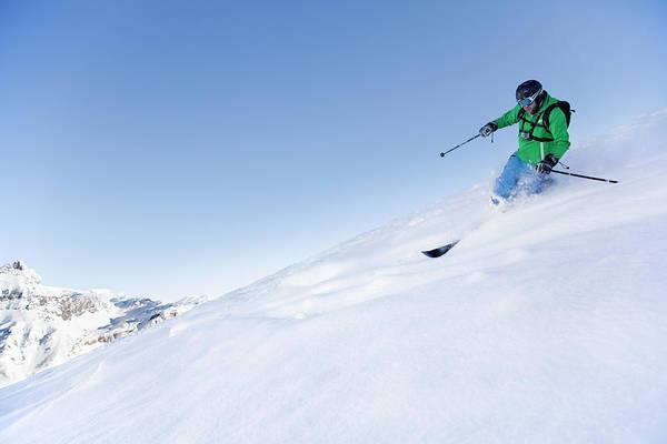 Helmet Photograph - Off-piste Skier In Powder Snow by Geir Pettersen