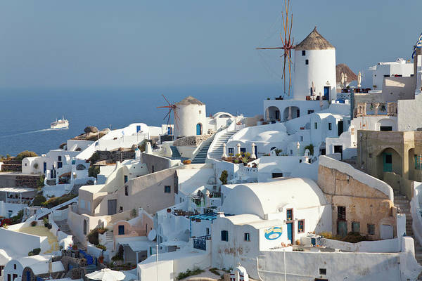 Aegean Sea Photograph - Oia, Santorini, Cyclades Islands, Greece by Peter Adams