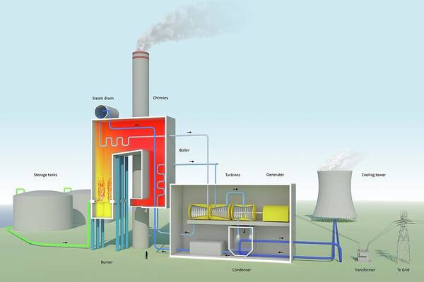 Condenser Wall Art - Photograph - Oil-fired Power Station by Science Photo Library