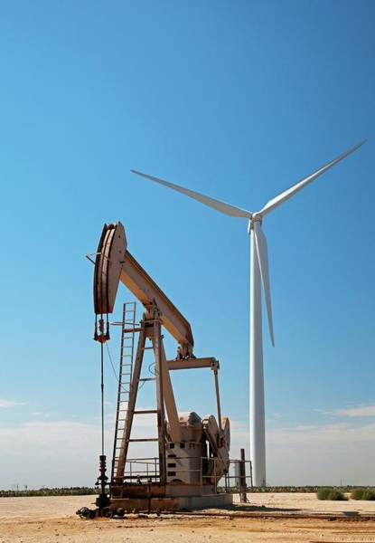 Oil Pump Photograph - Oil Pump And Wind Turbines by Jim West
