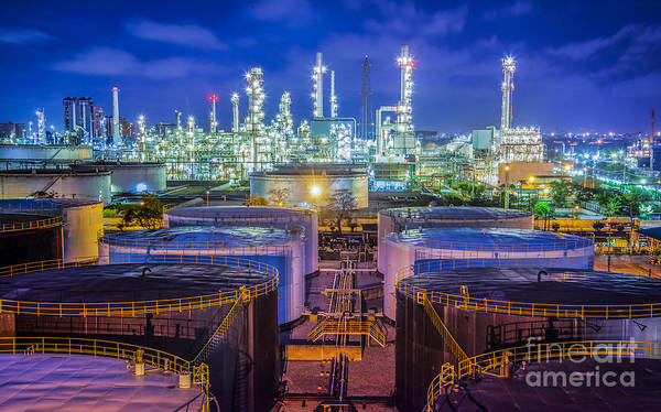 Petroleum Wall Art - Photograph - Oil Refinary Industry  by Anek Suwannaphoom