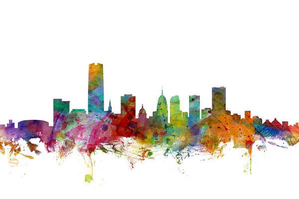 Oklahoma Wall Art - Digital Art - Oklahoma City Skyline by Michael Tompsett