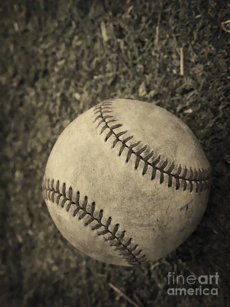 Field Photograph - Old Baseball by Edward Fielding