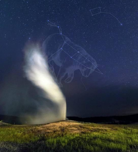 Ursa Major Photograph - Old Faithful Geyser And Ursa Major Stars by Babak Tafreshi