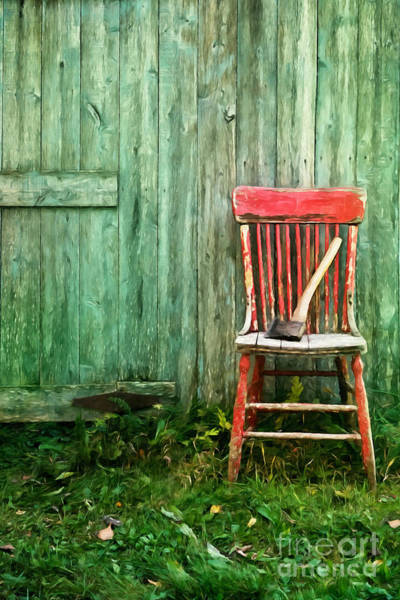 Photograph - Old Red Chair Near A Barn/digital Watercolor by Sandra Cunningham