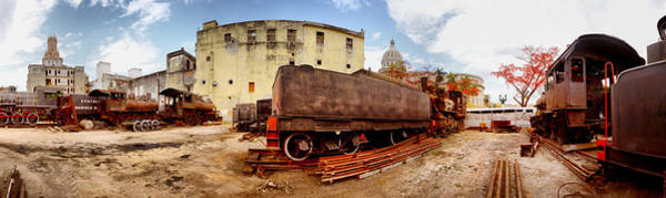 Wall Art - Photograph - Old Trains Being Restored, Havana, Cuba by Panoramic Images