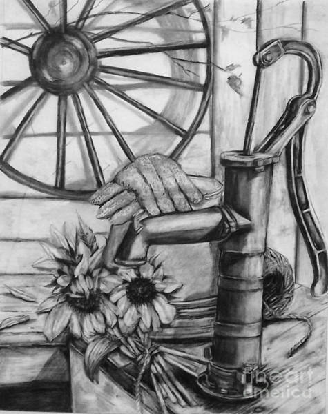 Pump Drawing - Old Water Pump by Laneea Tolley