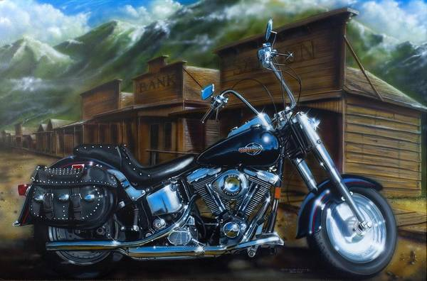 Harley Motorcycle Wall Art - Painting - Old West Fat Boy by Timothy Scoggins