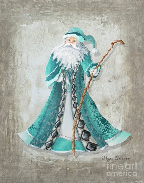 License Wall Art - Painting - Old World Style Turquoise Aqua Teal Santa Claus Christmas Art By Megan Duncanson by Megan Duncanson
