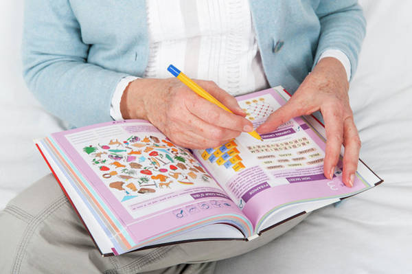 Wall Art - Photograph - Older Woman Doing Puzzles by Lea Paterson/science Photo Library