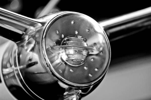 Photograph - Oldsmobile Steering Wheel Emblem by Jill Reger