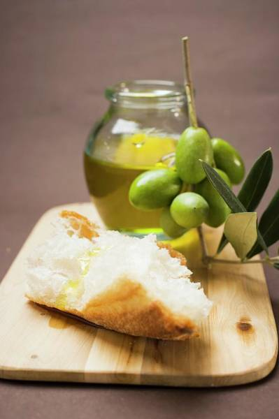 Vegies Photograph - Olive Sprig With Green Olives, White Bread And Olive Oil by Foodcollection