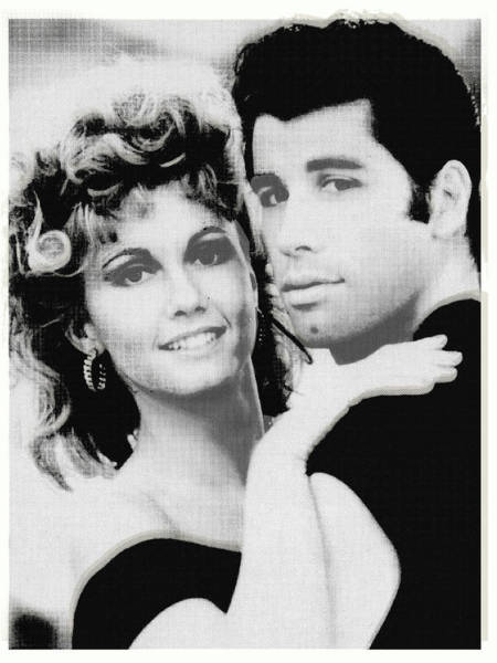 Wall Art - Painting - Olivia Newton John And John Travolta In Grease Collage by Tony Rubino