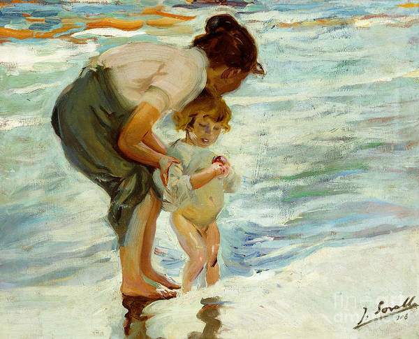 Paddling Painting - On The Beach by Joaquin Sorolla y Bastida