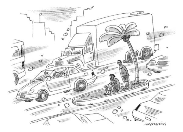 Palm Trees Drawing - One Homeless Man Is Comforting Another On An by Mick Stevens