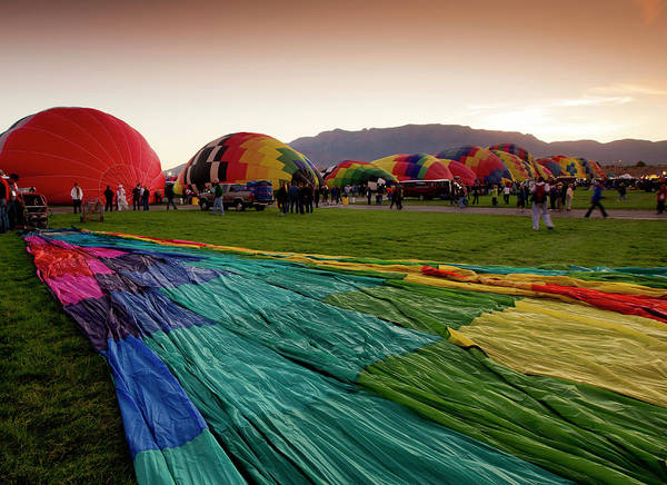 Fiesta Photograph - One Of Many Balloons Being Prepared by Maresa Pryor