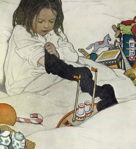 Excitement Painting - Opening The Christmas Stocking by Jessie Willcox Smith