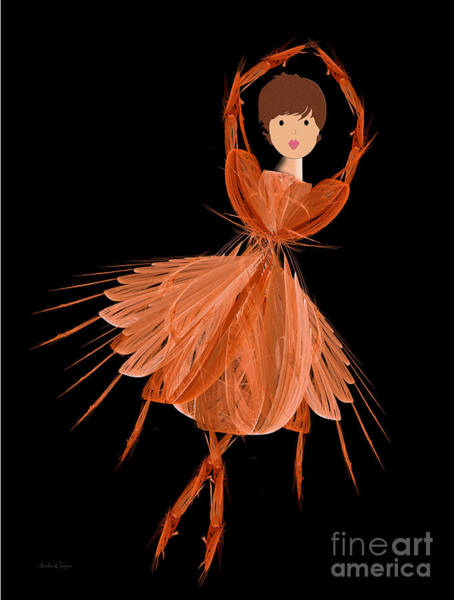 Digital Art - 1 Orange Ballerina by Andee Design