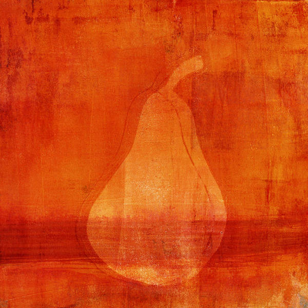 Mixed Media Mixed Media - Orange Pear Monoprint by Carol Leigh