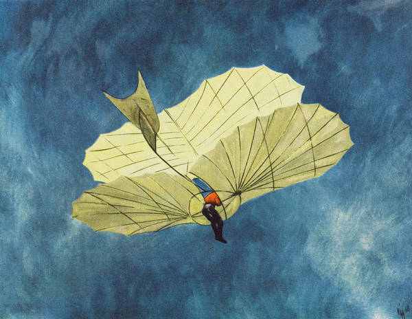 Wall Art - Drawing - Otto Lilienthal, German  Birdman by Mary Evans Picture Library