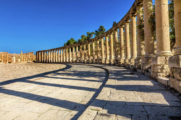 Jerash Photograph - Oval Plaza, 160 Ionic Columns, Jerash by William Perry