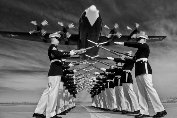 C 130 Photograph - Over The Marine Corps Silent Drill Platoon by Mountain Dreams