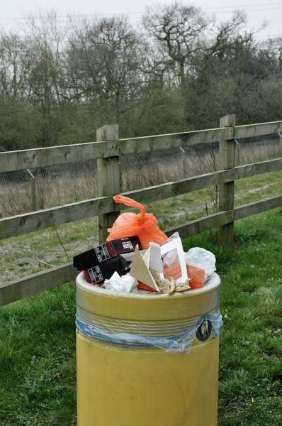 Rubbish Bin Photograph - Overflowing Litter Bin by Robert Brook/science Photo Library