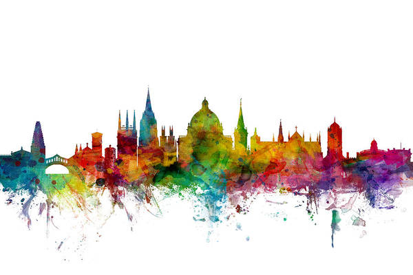 Watercolour Digital Art - Oxford England Skyline by Michael Tompsett