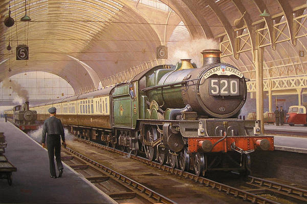 Railway Painting - Paddington Arrival. by Mike Jeffries