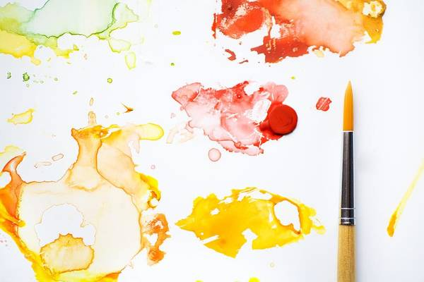 Brush Photograph - Paint Splatters And Paint Brush by Chris Knorr