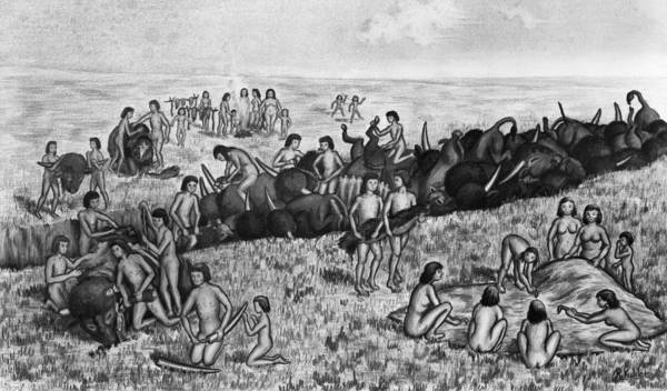 Ditch Painting - Paleoindian Buffalo Hunt by Granger