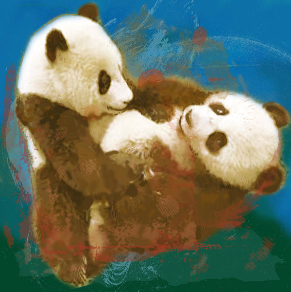 Native Drawing - Panda - Stylised Drawing Art Poster by Kim Wang