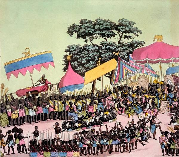 Traditional Dances Drawing - Panoramic View Of The Yam Custom by Italian School