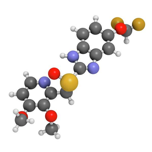 3d Model Photograph - Pantoprazole Gastric Ulcer Drug Molecule by Molekuul