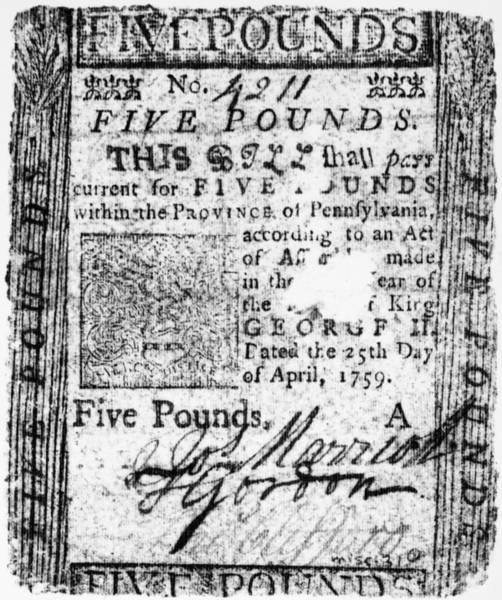 Artifact Painting - Paper Currency, 1759 by Granger