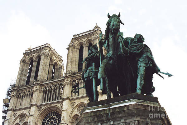 Wall Art - Photograph - Paris Charlemagne Notre Dame Cathedral Sculpture Monument Landmark - Paris Charlemagne Monument by Kathy Fornal