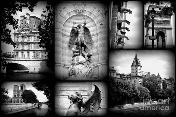 Photograph - Paris Collage - Black And White by Carol Groenen