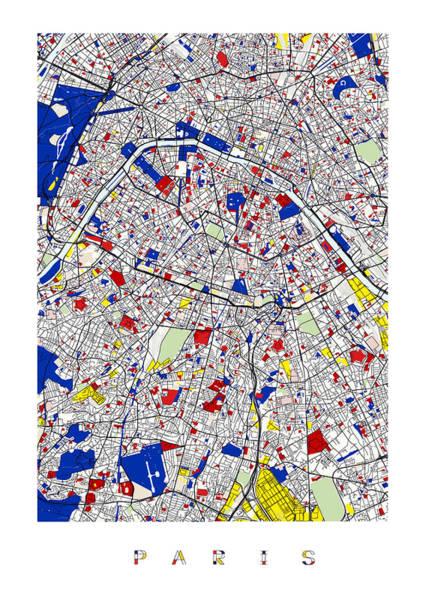 Digital Art - Paris Piet Mondrian Style City Street Map  by Celestial Images