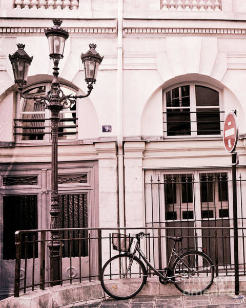 Wall Art - Photograph - Paris Pink Bicycle With Street Lamps - Paris Bicycle Pink Black Architecture Street Lanterns by Kathy Fornal