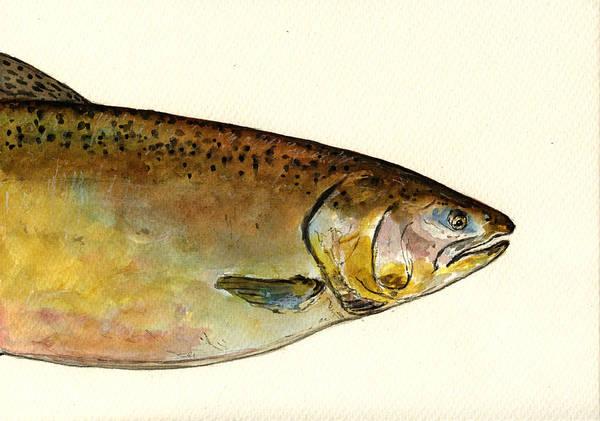 Salmon Painting - 1 Part Chinook King Salmon by Juan  Bosco