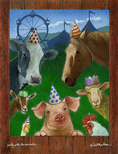 Wall Art - Painting - Party With The Animals... by Will Bullas