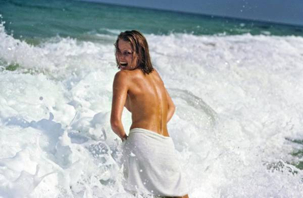 Wave Photograph - Patti Hansen Topless In Surf by Arthur Elgort
