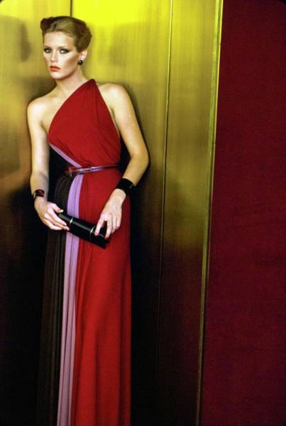 Metropolitan Museum Photograph - Patti Hansen Wearing A Galanos Dress by Arthur Elgort