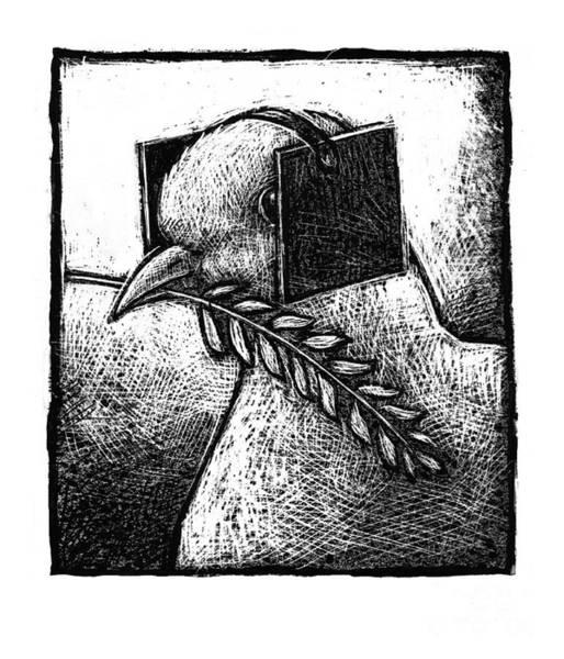 Olive Branch Drawing - Peace-4 by Chris Van Es
