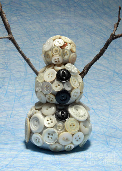 Wall Art - Mixed Media - Pearly Snowman Christmas Card by Adam Long