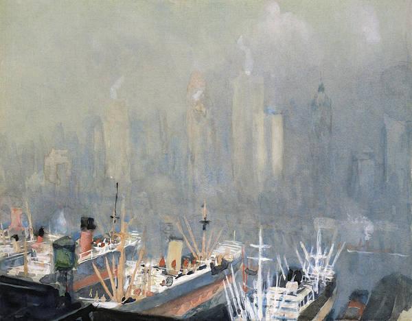 Manhattan Skyline Painting - Pennell New York City, C1924 by Granger