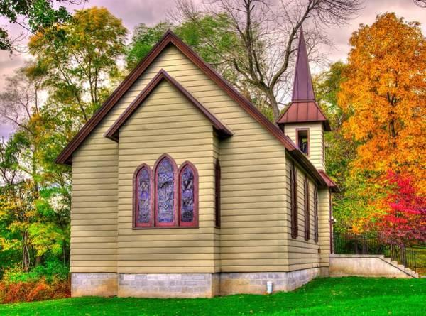 Rockville Photograph - Pennsylvania Country Churches - Heckton Church At Fort Hunter Autumn - Dauphin County by Michael Mazaika